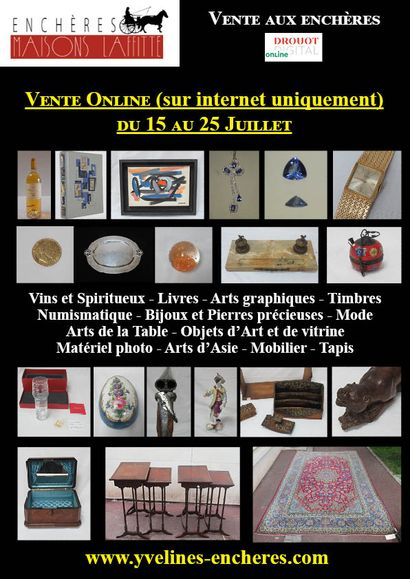 Online sale : Wines and Spirits - Books - Graphic Arts - Stamps - Numismatics - Jewellery and Precious Stones - Fashion Tableware - Works of Art - Photo Equipment - Asian Art - Furniture - Carpets