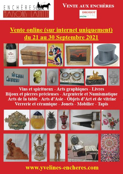 Online sale : Wines and spirits - Graphic arts - Books Jewellery and precious stones - Silverware and Numismatics - Tableware - Asian art - Glassware and ceramics - Toys - Furniture - Rugs
