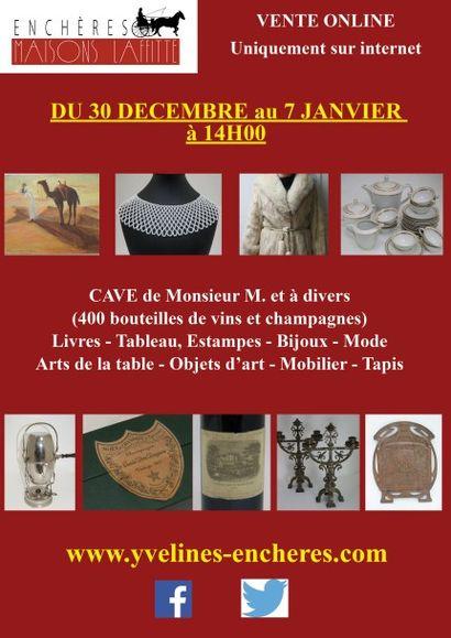 400 bouteilles de vin et champagne, livres, bijoux, mode, arts de la table, objets d'art, mobilier, tapis