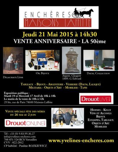 Vente anniversaire (la 50e) - Tableaux, Bijoux, Argenterie, Objets d'Art, Mobilier, Tapis