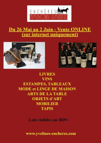 Nombreuses bouteilles de vin, Estampes et tableaux, Mode et bijoux, Arts de la table, Objets d'art, Mobilier, Tapis