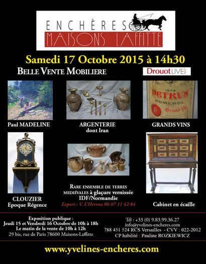Belle vente mobilière : Grands vins - Estampes et tableaux - Argenterie - Collectionde terres cuites médiévales - Objets d'Art - Mobilier - Tapis