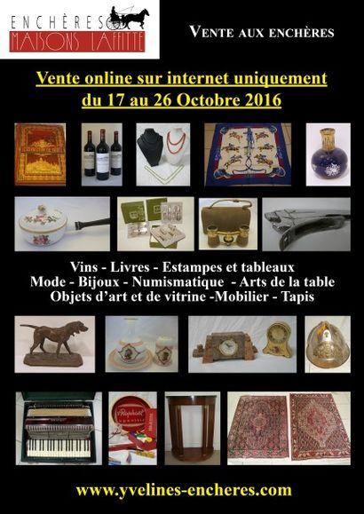 Vente online : Vins - Livres - Mode et Bijoux - Arts de la table - Objets d'Art et de vitrine - Mobilier - Tapis
