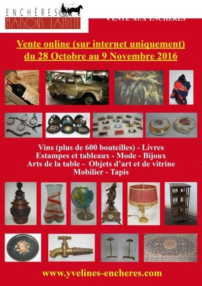 Vins (plus de 600 bouteilles), estampes, tableaux, bijoux, mode, objets d'Art et de Vitrine - Arts de la table, mobilier, tapis