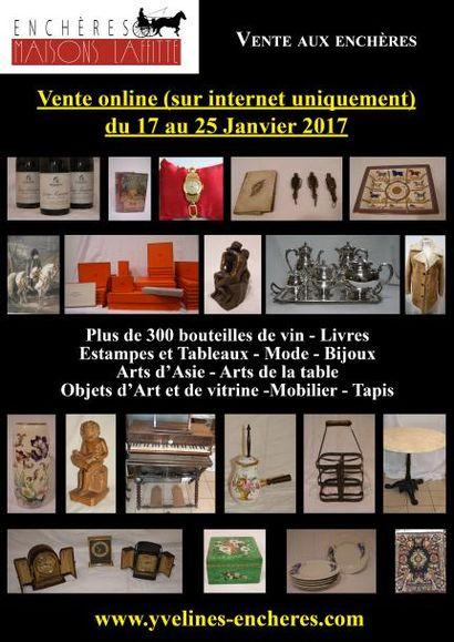 Vente online : Vins (plus de 300 bouteilles) - Livres - Estampes et Tableaux - Mode et Bijoux - Arts de la table - Objets d'Art et de Vitrine - Mobilier - Tapis