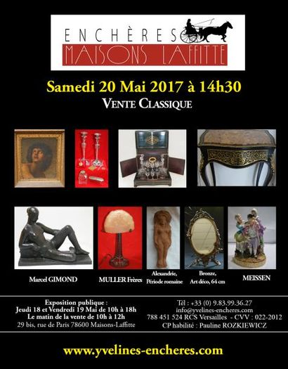 Vente classique : Estampes et tableaux - Bijoux et Argenterie - Arts de la table - Objets d'Art et de vitrine - Mobilier - Tapis