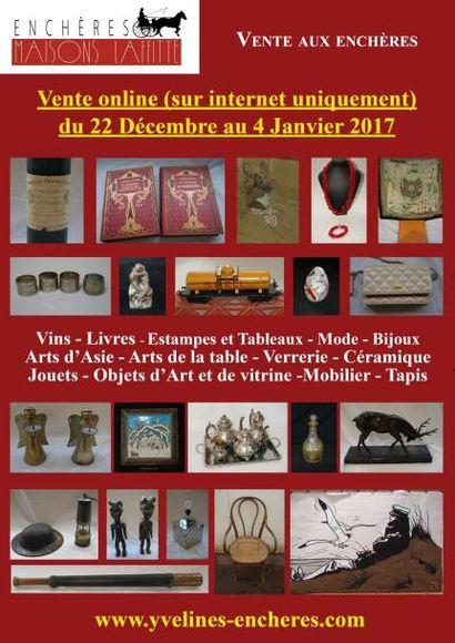Vente online : Vins et alcools - Estampes et tableaux - Mode et Bijoux - Objets d'Art et de Vitrine - Arts de la table - Mobilier - Tapis