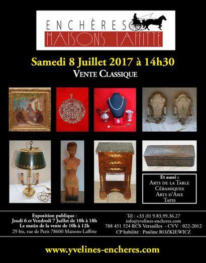 Vente classique : Estampes et tableaux - Bijoux et Argenterie - Objets d'Art et de Vitrine - Arts de la table - Mobilier - Tapis