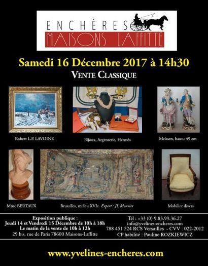 Vente classique : Estampes et tableaux - Bijoux et Argenterie - Objets d'Art et de vitrine - Arts de la table - Mobilier - Tapis et tapisserie