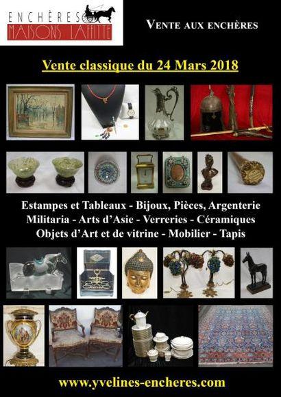 Vente classique : Estampes et tableaux - Bijoux et Argenterie - Militaria - Objets d'Art et de vitrine - Arts de la table - Mobilier - Tapis et tapisserie
