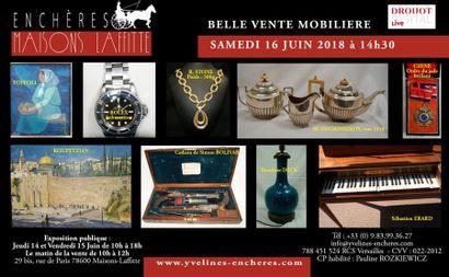 Belle vente mobilière : Estampes et tableaux - Bijoux et Argenterie - Objets d'Art et de Vitrine - Arts de la table - Mobilier - Tapis