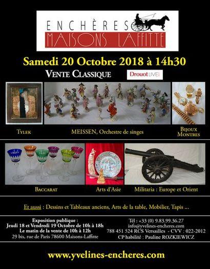 Belle vente mobilière : Dessins et tableaux - Bijoux - Arts d'Asie - Militaria - Arts de la Table - Objets d'Art et de vitrine - Mobilier - Tapis