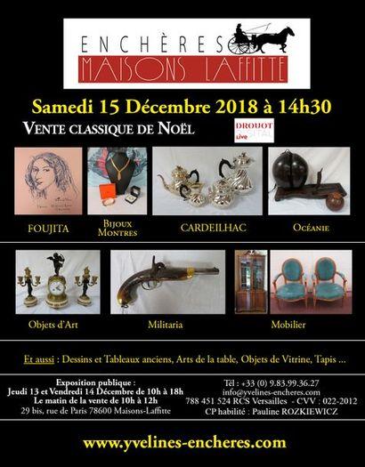 Vente classique : Estampes et tableaux - Bijoux et Argenterie - Arts d'Asie - Arts de la table - Mobilier - Tapis