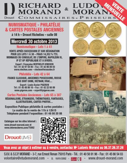NUMISMATIQUE - PHILATELIE & CARTES POSTALES ANCIENNES