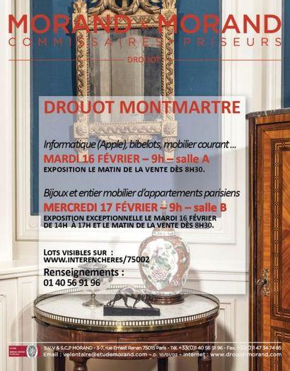 DROUOT MONTMARTRE : Bijoux - Mobilier d'appartements parisiens