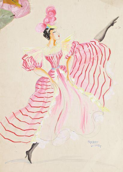 Collection autour du Music-Hall, théâtre, Cinéma. + de 1000 gouaches et dessins  de costumes et décors dont Moulin Rouge, Casino de Paris, Folies Bergère...