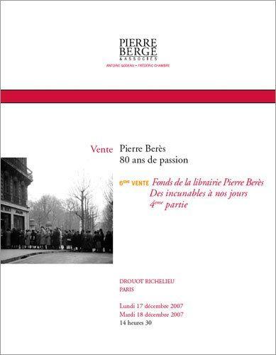 Fonds de la librairie Pierre Berès (17/12/2007)