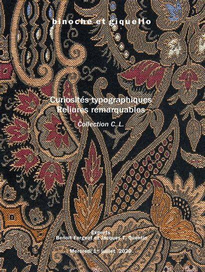 Curiosités typographiques - Reliures remarquables : Collection C. L.