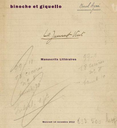 Exceptionnel ensemble de manuscrits littéraires de Marcel AYMÉ et de Marguerite DURAS