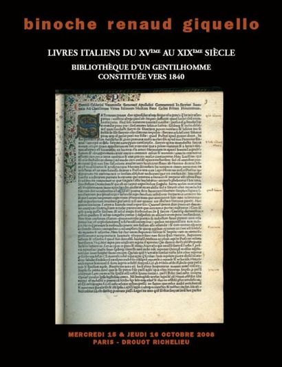 LIVRES ITALIENS DU XVIème au XIXème siècle