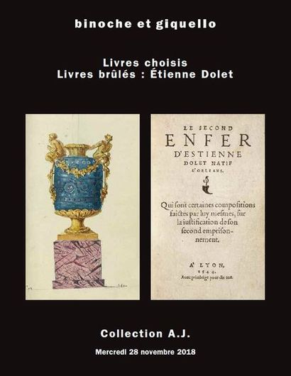 Collection A.J. - Livres anciens et manuscrits : Etienne Dolet (1509-1546)