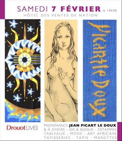 PROVENANCE J. PICART LE DOUX & À DIVERS - OR - BIJOUX - ESTAMPES - ART AFRICAIN - MAROQUINERIE - MODE - TAPISSERIES - OBJETS D'ART - VINS - MANETTES