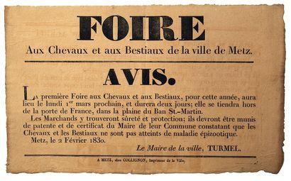 Rare collection d'affiches et placards, XVII°, XVIII°, XIX° siècle. Ancien Régime, Révolution, Empire, Restauration
