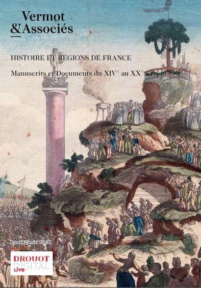 HISTOIRE & RÉGIONS DE FRANCE : Documents de collections : Affiches & Placards, - Parchemins, Archives, Autographes - Cartes géographiques, Gravures