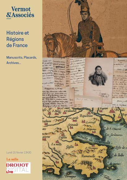 HISTOIRE ET REGIONS DE FRANCE : Manuscrits, Archives, Placards, Affiches du XIV° au XX° siècle