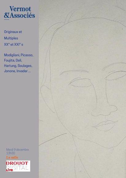 Originaux et Multiples des XX° et XXI° siècles : Modigliani, Picasso, Foujita, Dali, Hartung, Soulages, Invader, Jonone