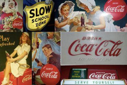 Collection d'un fou de Coca Cola, Objets, affiches, Plaques émaillées, Goodies De 1930 à 1980 et autres objets de cafés