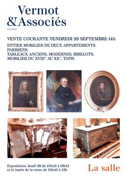Entiers Mobiliers de 2 appartements Parisiens et à divers -Tableaux anciens, Modernes, Argenterie, Asie, Mobilier et Objets d'Art, Tapis