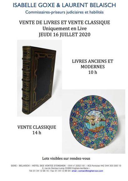 VENTES DE LIVRES ANCIENS ET MODERNES - VENTE CLASSIQUE à 10 h et à 14 h