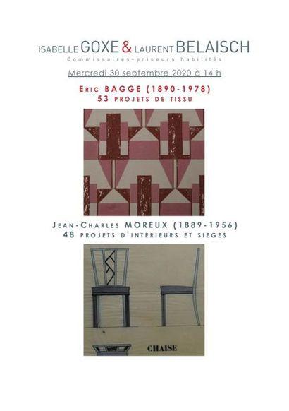Éric BAGGE et Jean-Charles MOREUX : 53PROJETS de TISSU par Éric BAGGE (1890-1978) et 48 PROJETS d'ARCHITECTURE d'INTERIEURS par Jean-Charles MOREUX (1889-1956)