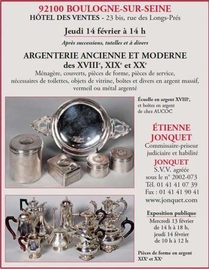 ARGENTERIE ANCIENNE ET MODERNE des XVIIIe, XIXe et XXe