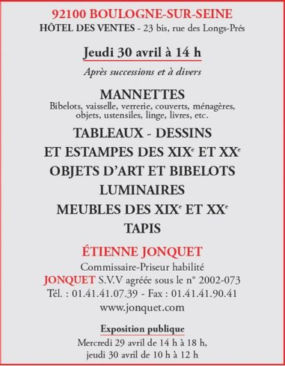 Manettes - Tableaux- Meubles - Objets d'art