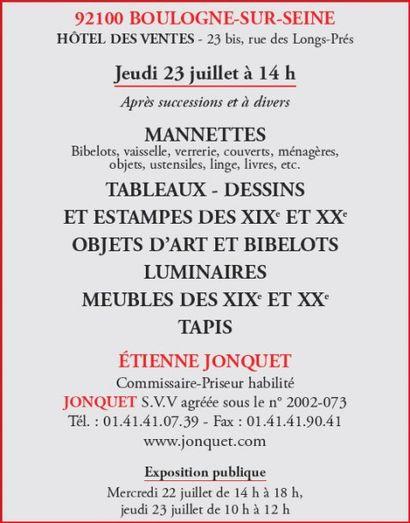 Mannettes - Meubles et objets d'art - Monnaies