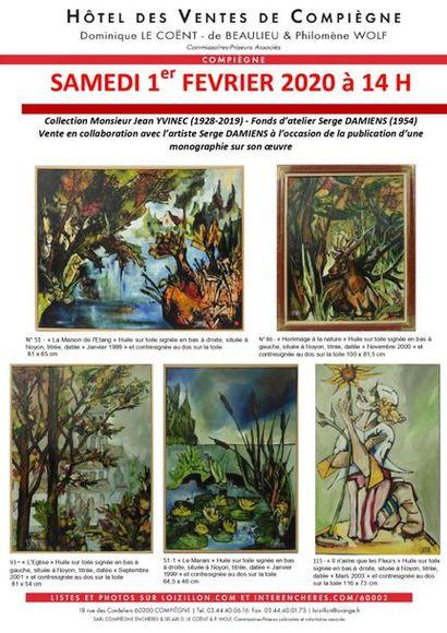 Collection Monsieur Jean YVINEC (1928-2019) Fonds d'atelier Serge DAMIENS (1954) et à divers - Vente en collaboration avec l'artiste Serge DAMIENS à l'occasion de la publication d'une monographie sur son oeuvre