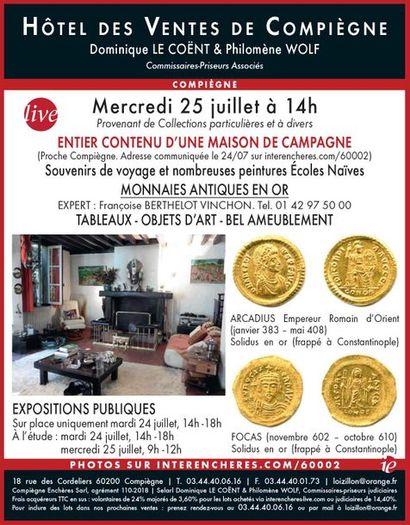 ENTIER CONTENU D'UNE MAISON DE CAMPAGNE - Souvenirs de voyage - VENTE MOBILIERE CLASSIQUE