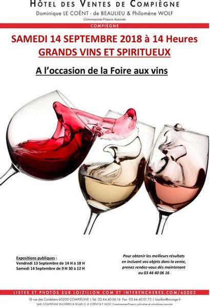 GRANDS VINS ET SPIRITUEUX à l'occasion de la Foire aux Vins