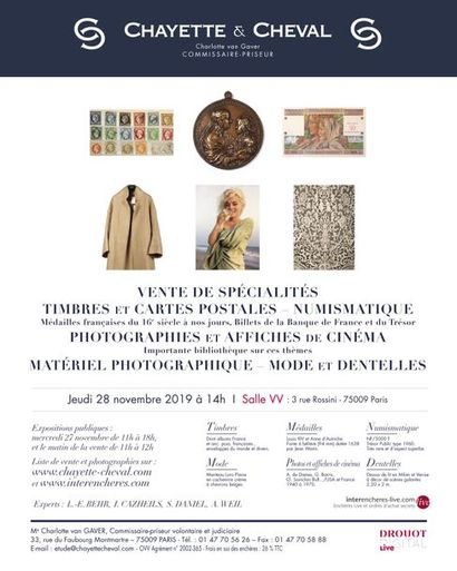 SALE OF SPECIALTIES: SILVER and NUMISMATICS, SHOWS AND PHOTOS OF CINEMA, PHOTO MATERIALS, MODE and DENTELS