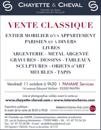 VENTE CLASSIQUE : MONNAIES OR - TABLEAUX- MEUBLES et OBJETS d'ART