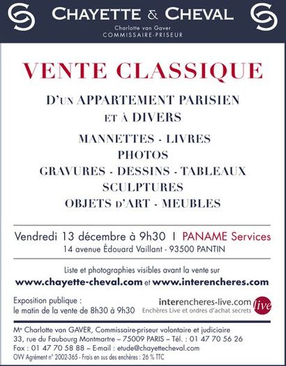 VENTE CLASSIQUE : TABLEAUX- MEUBLES et OBJETS d'ART