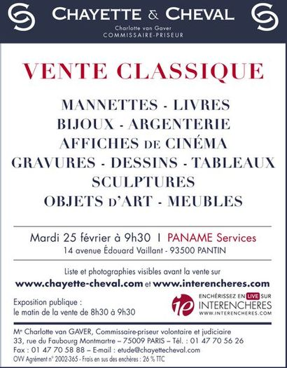 VENTE CLASSIQUE: MANNETTES- BIJOUX-TABLEAUX-MEUBLES ET OBJETS D'ART