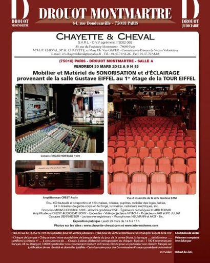 VENTE TOUR EIFFEL: MOBILIER et MATERIEL SONORISATION PROVENANT DE LA SALLE GUSTAVE EIFFEL
