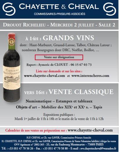 VENTE CLASSIQUE - VINS, MOBILIER & OBJETS d'ART (vin sur drouotlive)