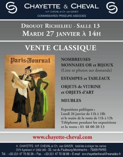 VENTE CLASSIQUE - MONNAIES- MONTRES DE POCHE- BIJOUX- TABLEAUX- MOBILIER & OBJETS d'ART
