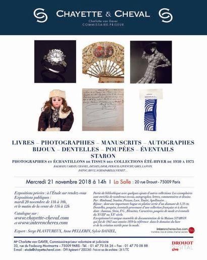 Livres - Photographies - Manuscrits - Autographes - Bijoux - Staron - Dentelles - Poupées - Éventails