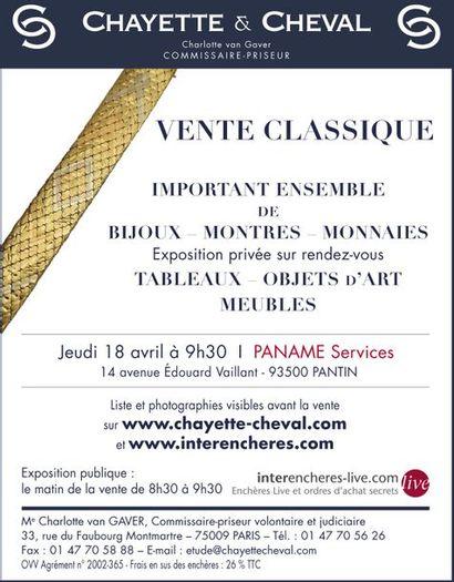 VENTE CLASSIQUE : BIJOUX - MONNAIES - TABLEAUX - MEUBLES et OBJETS d'ART