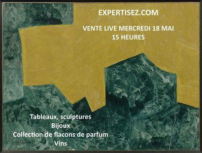 Tableaux, sculptures, bijoux, collection de flacons de parfum, vin